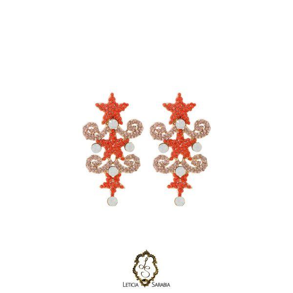 Brinco - Coral, Pêssego e Branco B6938