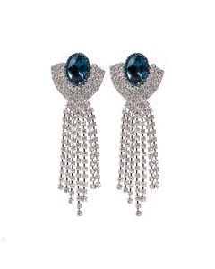 Brinco Thassia - Azul Marinho e Prata
