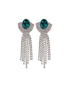 Brinco Thassia - Verde Esmeralda e Prata