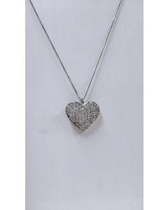 colar  l´amour coração prata